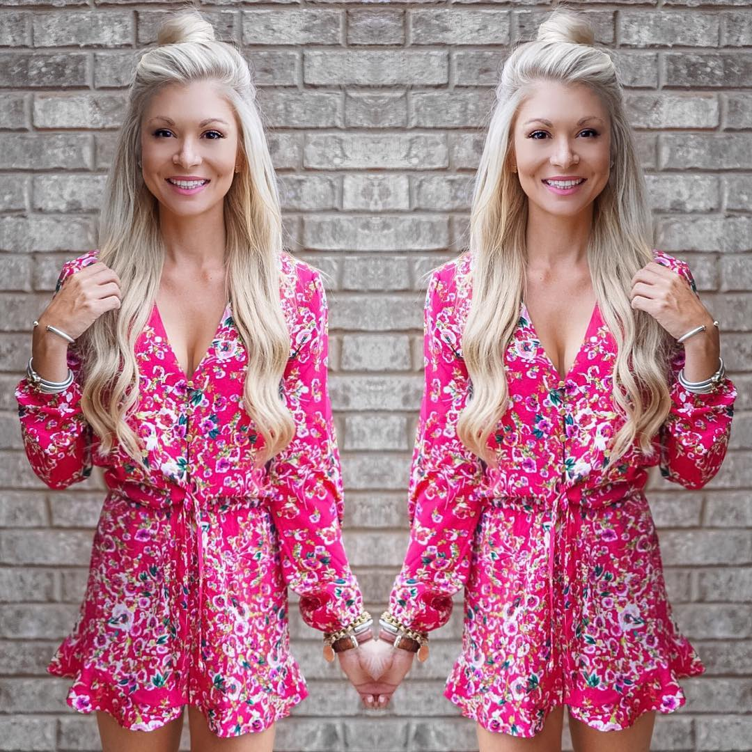 Pink floral romper for a hot summer night!! Happy Saturday friends!! http://liketk.it/2oTwC #summer #wiw #ootd #liketkit