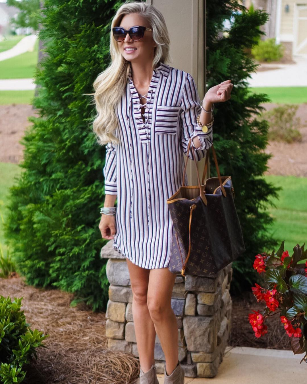 This lace-up shirt dress has me ready for coooooler weather! {And it's on mega sale!!} http://liketk.it/2oSO8 #nsale #summer #liketkit