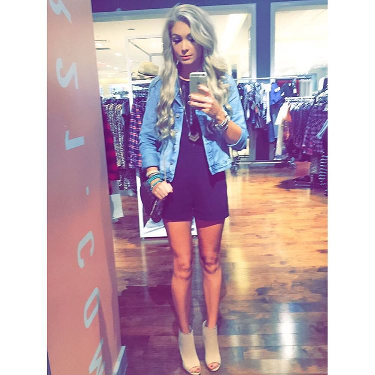 Romping around the mall in my denim jacket! Is romper + jacket a thing!? I dunno, but I'm doing it! http://liketk.it/2p9Po #rolltide #ootd #wiw #saturdaze #liketkit