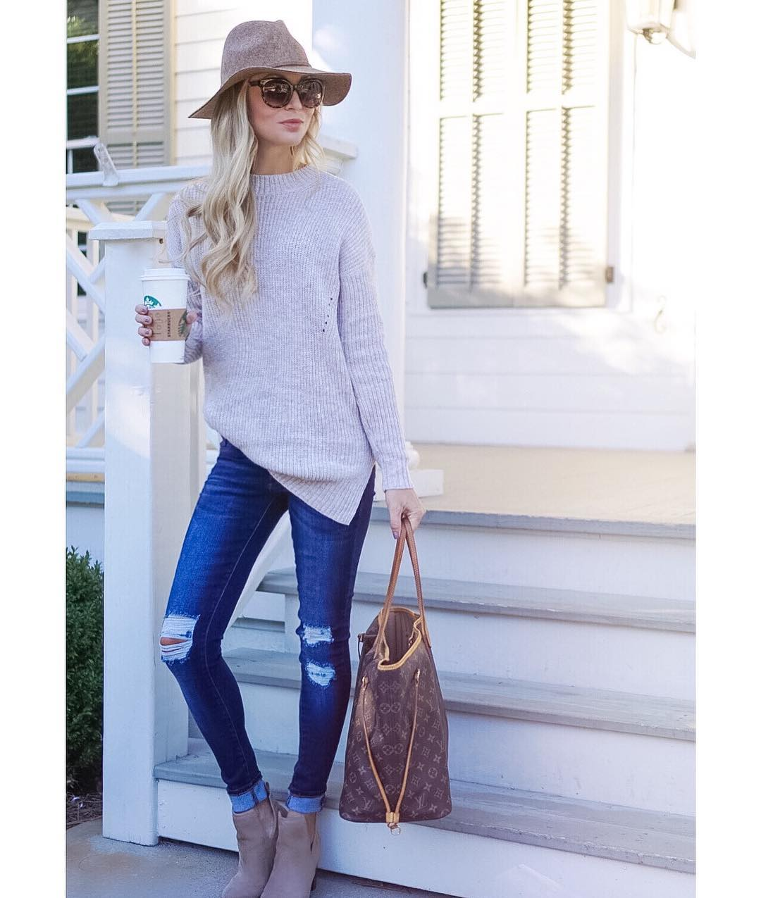 An oversized sweater + ripped jeans = the perfect fall outfit! http://liketk.it/2pnuH {This sweater is under $40 and it was so soft I ordered it in several colors!!} #liketkitunder50 #liketkit #fall #fallfashion #ootd #wiw #sweaterweather