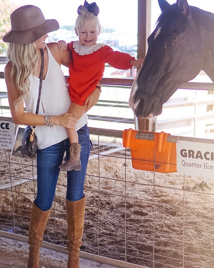 Fall fun with this cutie!! {Added another pair of over-the-knee boots to my collection...I may or may not have a problem! } http://liketk.it/2poAJ #fall #fallfashion #momlife #sundayfunday #wiw #ootd