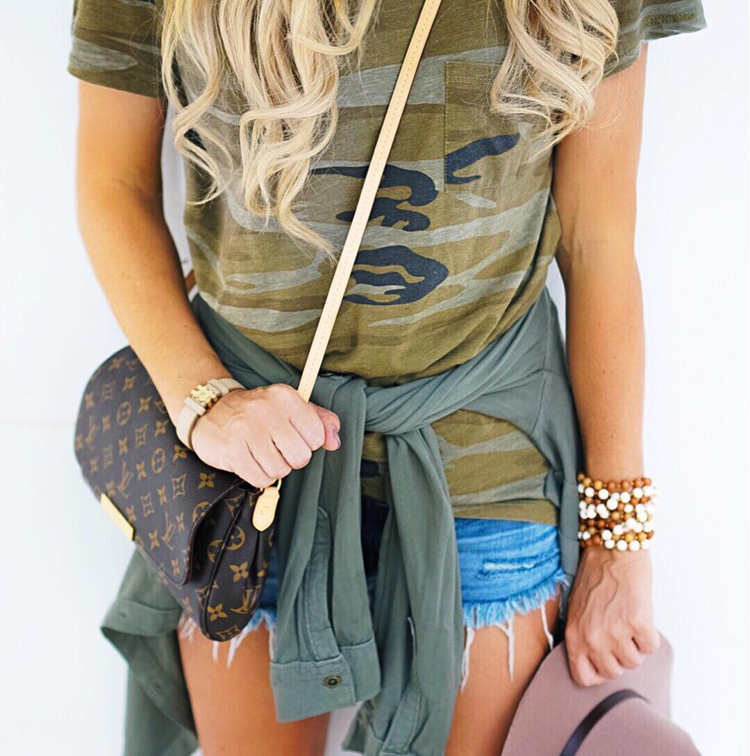 Can't go wrong with a camo tee! Enjoying this 85 degree shorts weather while it lasts! http://liketk.it/2pqnc #fall #fallfashion #wiw #ootd #liketkit #liketkitunder50