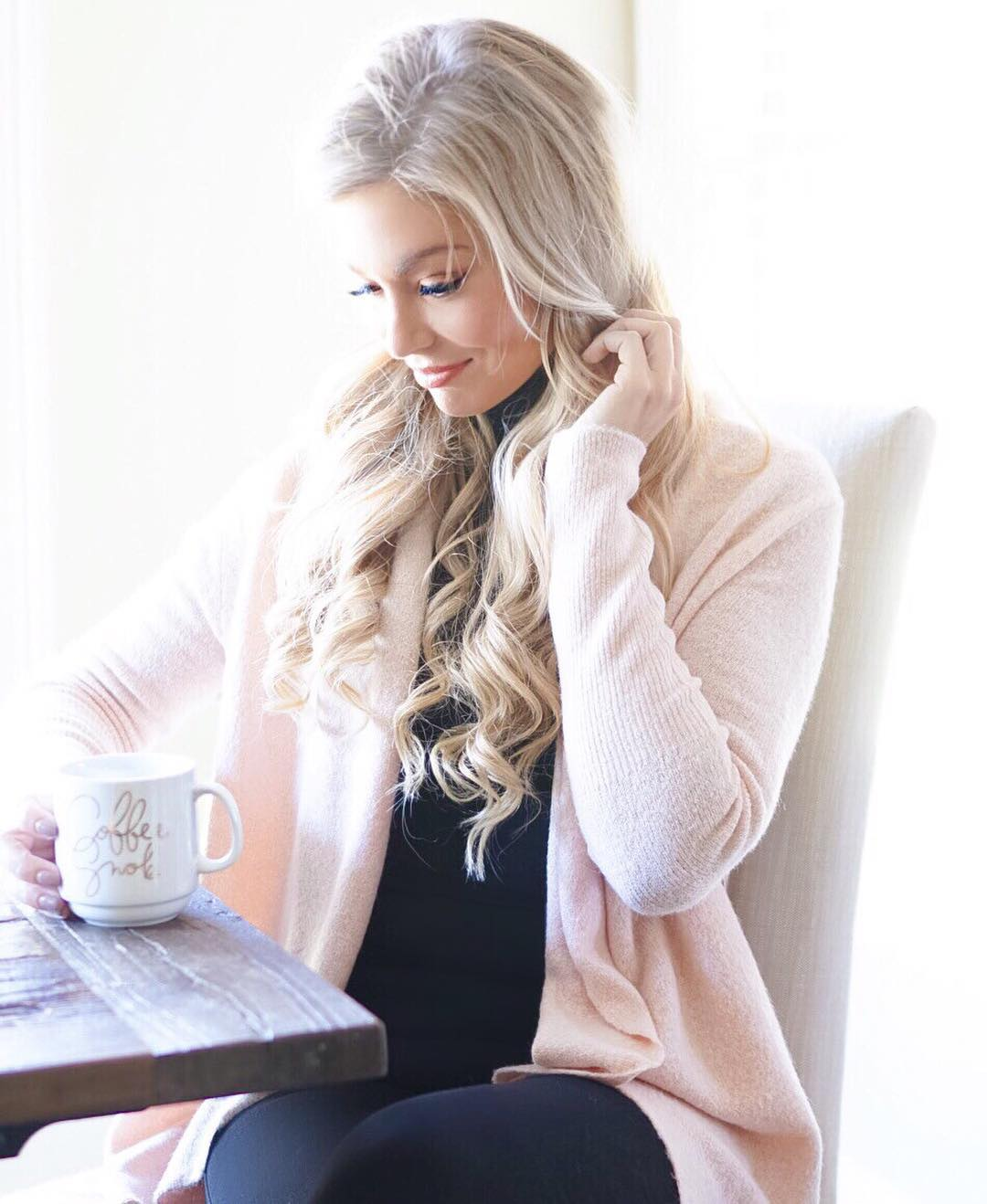 Coffee is my love language! ☕️ Especially on mornings when the time change has my kiddo up at 5AM! {This cardigan is the softest thing EVER & comes in several colors!} http://liketk.it/2pxFe #liketkit #liketkitunder100 #ootd #wiw #momlife #fall #fallfashion #sweaterweather #sundayfunday