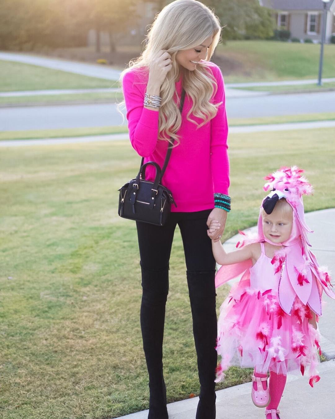 Happy Halloween! Perfect night trick-or-treating with this flamingo gal!! http://liketk.it/2pv9w #halloween #momlife #lifewithblove #ootd #wiw #welovepink