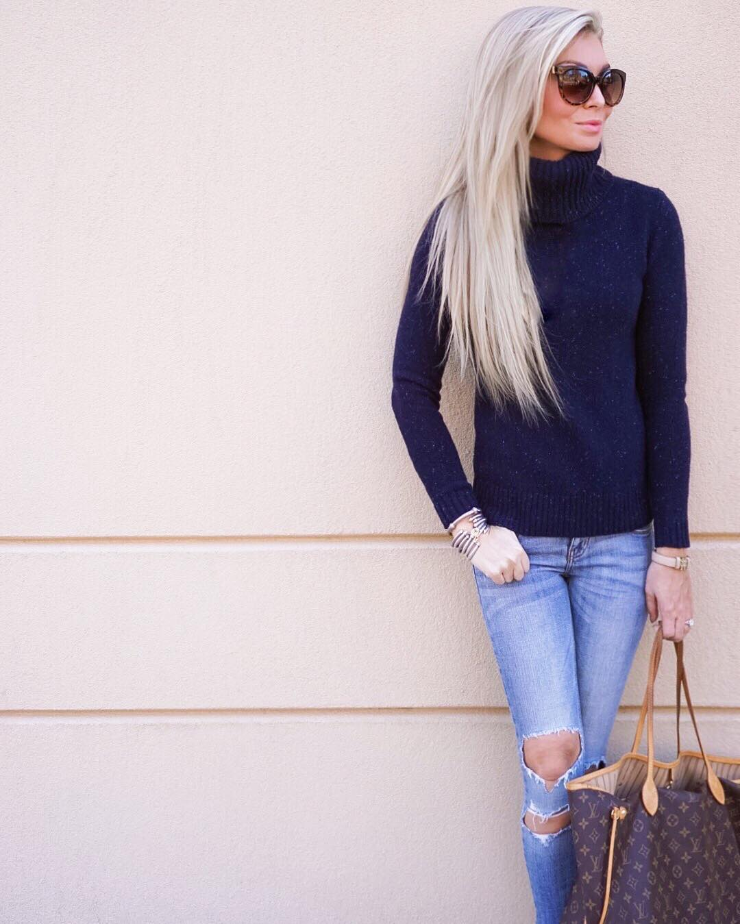 Casual Friday! ✌️ Perfect comfy combo for Chinese takeout and ice cream with my little babe! // This sweater is SO soft! #youneedit http://liketk.it/2pDJj #liketkit #liketkunder100 #sweaterweather #wiw #ootd #rippedjeansarelife #tgif