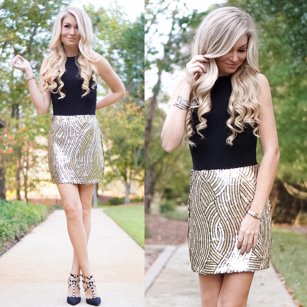 Black with a pop of SPARKLE ✨ // This festive skirt has me seriously ready for the holidays!! // PS - Added some holiday cheer to my blog today: holiday gifts & holiday home decor // http://liketk.it/2pyrJ @liketoknow.it #liketkit #liketkitunder50 #sundaze #sundayfunday #fallfashion #fall #ootd #wiw #holidayready