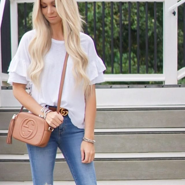 Basics for the win! Ruffled tee and ripped jeans arehellip